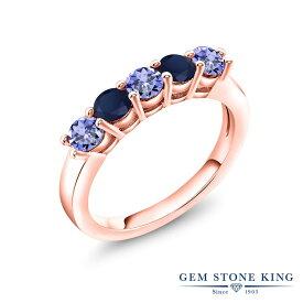 Gem Stone King 1.04カラット 天然石 タンザナイト 天然 サファイア シルバー925 ピンクゴールドコーティング 指輪 リング レディース 小粒 バンド 12月 誕生石 金属アレルギー対応 結婚指輪 ウェディングバンド
