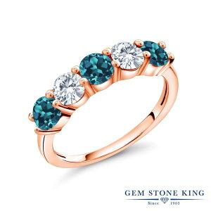 1カラット 天然 ロンドンブルートパーズ 指輪 レディース リング 合成ダイヤモンド ピンクゴールド 加工 シルバー925 ブランド おしゃれ 5連 小粒 天然石 11月 誕生石 プレゼント 女性 彼女 妻