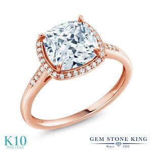 スワロフスキージルコニア 指輪 レディース リング 10金 ピンクゴールド K10 ブランド おしゃれ スクエア ヘイロー 一粒 CZ 白 大粒 細身 プレゼント 女性 彼女 妻 誕生日