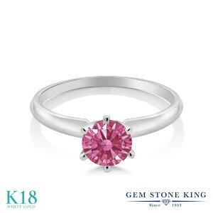 スワロフスキージルコニア (レッド) 指輪 レディース リング 18金 ホワイトゴールド K18 ブランド おしゃれ 一粒 CZ 赤 シンプル ソリティア 婚約指輪 エンゲージリング