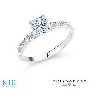 1.42カラット スワロフスキージルコニア 指輪 レディース リング 10金 ホワイトゴールド K10 ブランド おしゃれ 四角い パヴェ 一粒 CZ 白 大粒 マルチストーン 婚約指輪 エンゲージリング 母の