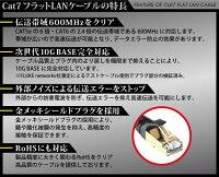 【フラットLANケーブルCAT71m】ゴールドメッキLANケーブルケーブルカテゴリ7【メ10】