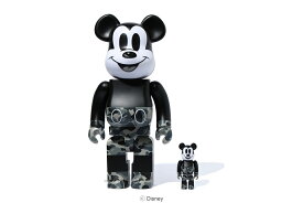 BE@RBRICK BAPE® MICKEY MOUSE MONOTONE Ver. 100%&400% set[BLACK&WHITE]A BATHING APE medicom toy