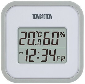 タニタ(Tanita) 温湿度計 デジタル グレー TT-558 GY 壁掛け 時計付き 卓上 マグネット