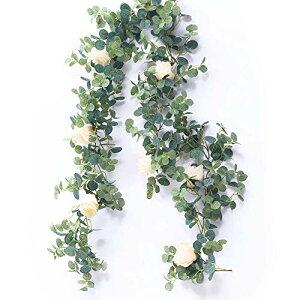 Gadgetman ユーカリ ガーランド 人工観葉植物 造花 バラ 花藤 アーティフィシャルフラワー 花園 婚礼の儀式 フェイクグリーン リアル