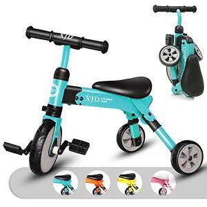 キッズ 三輪車 2 in 1 三輪車 2歳 子供用 折り畳み式 持ち運び易い T型ハンドル 2-4歳幼児に向け 誕生日プレゼントに最適 アウトドア