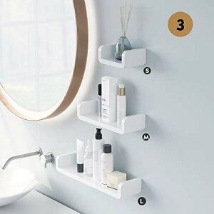 Aelfox 3個 浴室用ラック 粘着式シャワーラック お風呂 ラック 壁 棚 洗面所ラック ホルダー 壁掛けラック 調味料 収納ラック(S+M