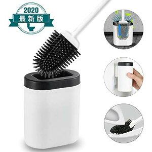 「2020年最新型」 トイレブラシ ヘッドは自由に曲げられ洗浄力の優れ360°植毛ブラシ いTPR材質 通気 衛生 速乾 (地面/壁取り付け) ブ