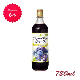 【野田ハニー公式】お得まとめ割!ブルーベリー100%ジュース<濃縮還元> 720ml×6本 ブルーベリージュース ストレートジュース 果汁100%
