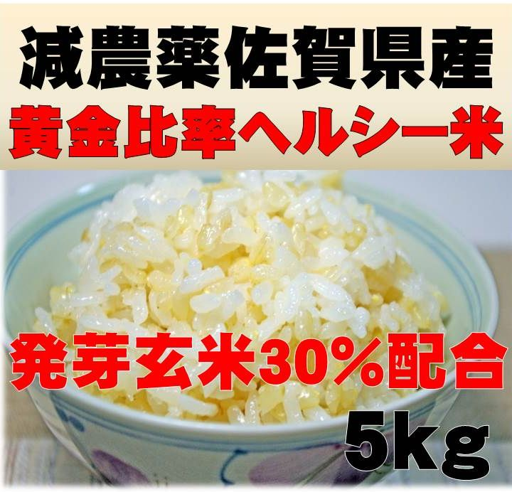 減農薬の発芽玄米配合黄金比率ヘルシー米5kg【発芽玄米30%配合】無洗米/送料無料発芽のチカラで玄米がパワーアップした発芽玄米をブレンド手軽に炊ける無洗米の玄米/発芽玄米配合