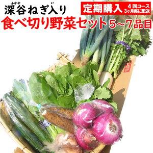 新鮮野菜セット 5〜7品目 (深谷ねぎ入り)定期購入【3ケ月毎 年4回コース 送料無料 常温発送/クール便(気温によって配送方法変更)】