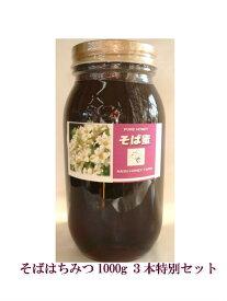 【希少価値】国産そばはちみつ 純粋天然純国産 1000g×3個 特別割引セット 送料無料 蜂蜜 ハチミツ