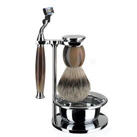 ミューレ SOPHIST シェービングセット・カップ付/ジェニュイン・ホーン 替刃:Mach3 (S93B42SM3)【髭剃り ひげ剃り カミソリ かみそり シェービング 剃刀 ジレット スタンド シェービングブラシ シェービングセット 水牛 角 高級】