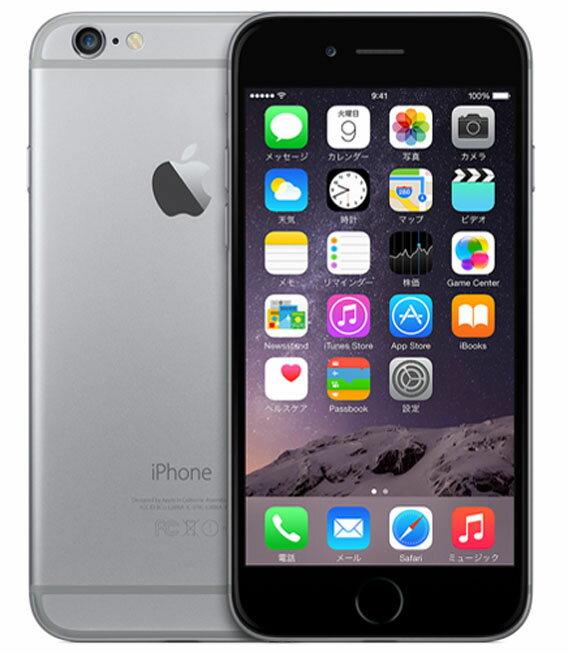 【中古】【安心保証】 docomo iPhone6[128GB] スペースグレイ