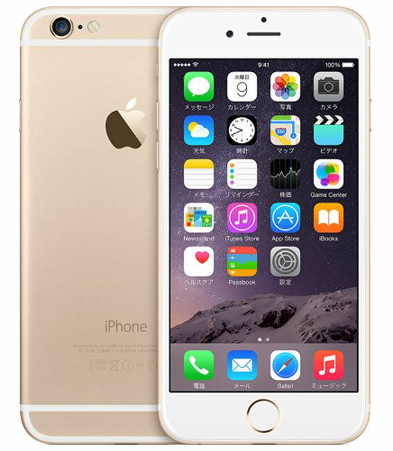 【中古】【安心保証】 au iPhone6[128GB] ゴールド