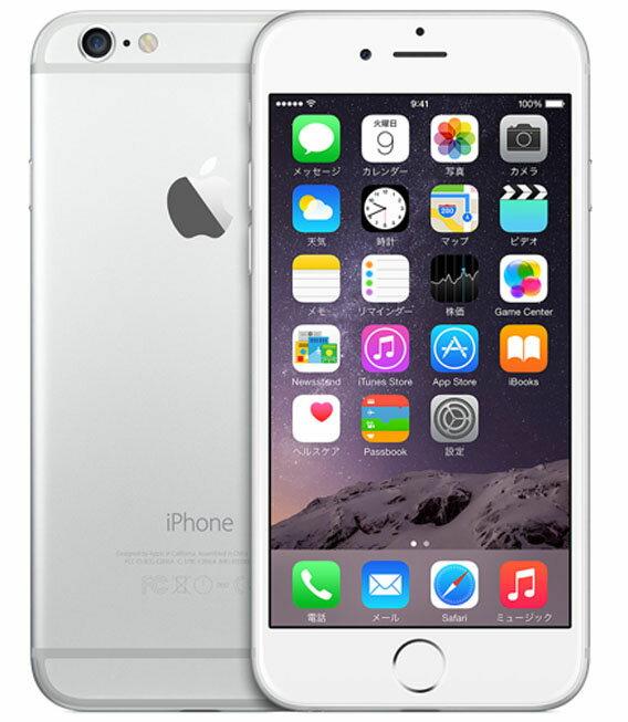 【中古】【安心保証】 au iPhone6[64GB] シルバー
