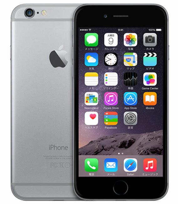 【中古】【安心保証】 docomo iPhone6[16GB] スペースグレイ