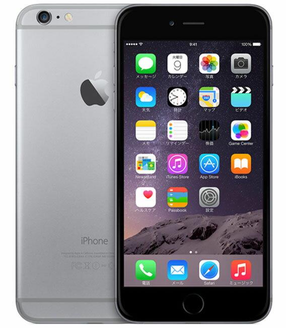【中古】【安心保証】 docomo iPhone6Plus[128GB] スペースグレイ