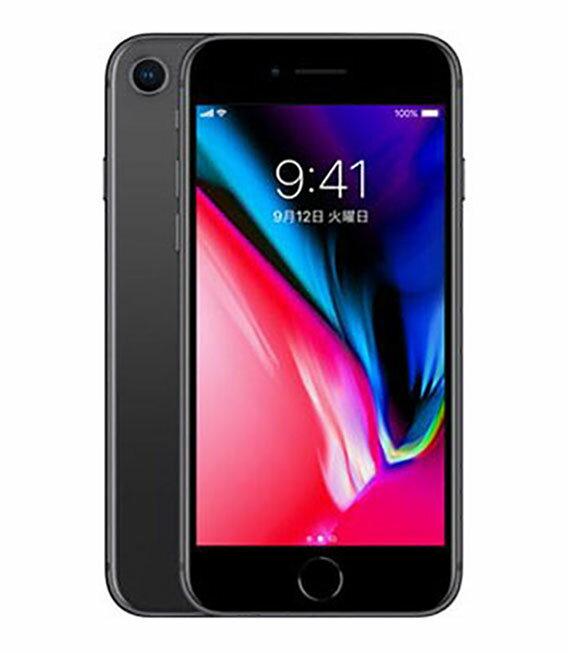 【中古】【安心保証】 au iPhone8[64G] スペースグレイ SIMロック解除済