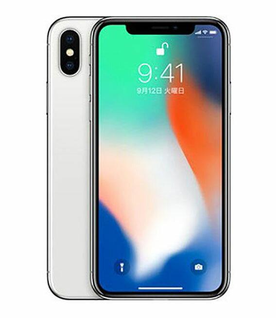 【中古】【安心保証】 docomo iPhoneX 64GB シルバー SIMロック解除済
