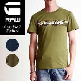 SALEセール10%OFF 2019春夏新作 G-STAR RAW ジースターロウ グラフィック 7 半袖Tシャツ メンズ 迷彩柄 D12868-336【gs2】