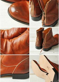 【PADRONEパドローネ】送料無料!シルエットが美しい、プレーントゥーのバックジップブーツPU7885メンズ革靴日本製パドロネ