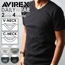 【送料無料】AVIREX アビレックス Vネック/クルーネック半袖Tシャツ 6143501/6143502 avirex Tシャツ メンズ【コンビ…