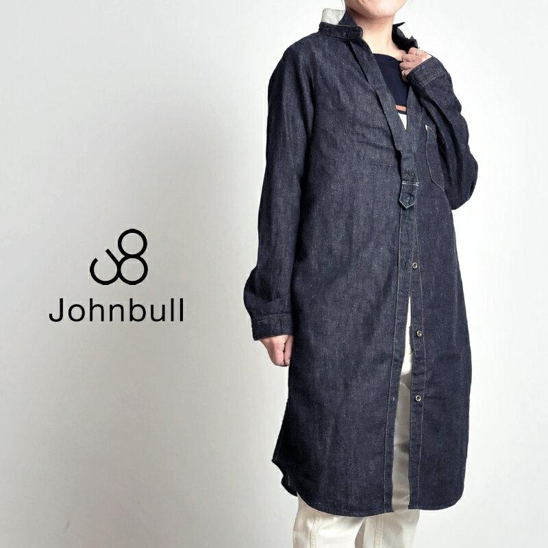 **JOHNBULL ジョンブル 綿麻クラシックシャツドレス(インディゴ)デニムシャツ ワンピース レディース AW624-11【コンビニ受取対応商品】
