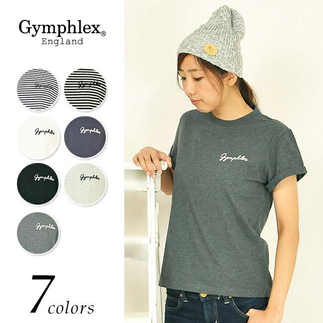 【送料無料(ゆうパケット)】Gymphlex ジムフレックス 折り返し袖 ロゴ Tシャツ J-1155CH レディース【コンビニ受取対応商品】