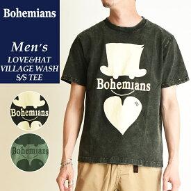 2019春夏新作 送料無料(ゆうパケット)Bohemians ボヘミアンズ 半袖プリントTシャツ PLAIN MEGA LOVE&HAT VILLAGE WASH TEE ラブアンドハット柄 洗い加工 メンズ レディース ユニセックス BT4H-LOVE&HAT
