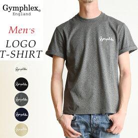 2020春夏新色 送料無料(ゆうパケット) Gymphlex ジムフレックス 折り返し袖 刺繍 ロゴ 半袖 Tシャツ メンズ 無地 ロールアップ カットソー J-1155CH