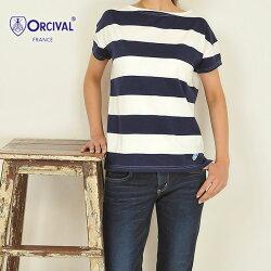 ORCIVALオーチバルボートネック半袖太ボーダーTシャツカットソー(#RC-6829-1レディース