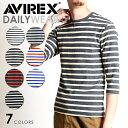 【ポイント還元セール】AVIREX アビレックス デイリーウェア 七部袖 クルーネック ボーダー Tシャツ インナー リブ アヴィレックス 6163370