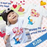 名入れTシャツ(カスタムオーダー可)【elephant】キッズサイズ(片面プリント前)【tokai_Pup1007-09】