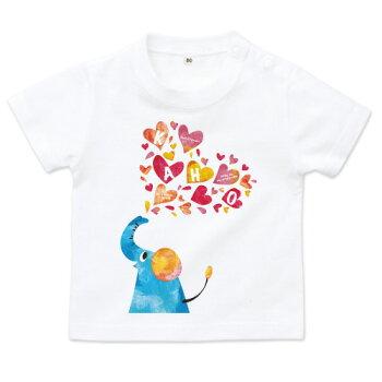 出産祝いに!名入れTシャツ(カスタムオーダー可)【elephant】ベビーサイズ(片面プリント前)