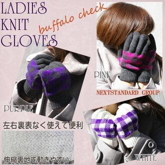 Gloves Lady's knit buffalo checked pattern! Rakuten mail order fs3gm only 1,000 yen