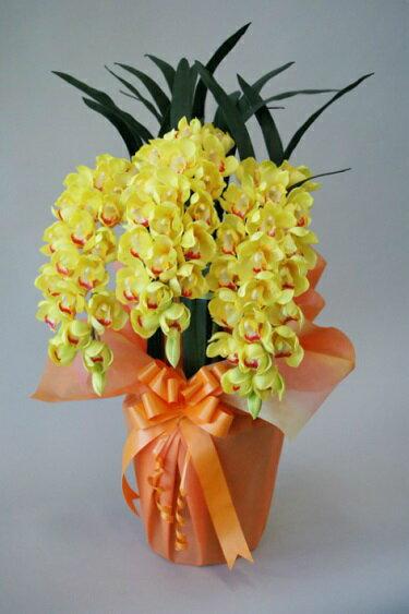 造花 シンビジューム3本立 Mサイズ H85cm  人工観葉植物
