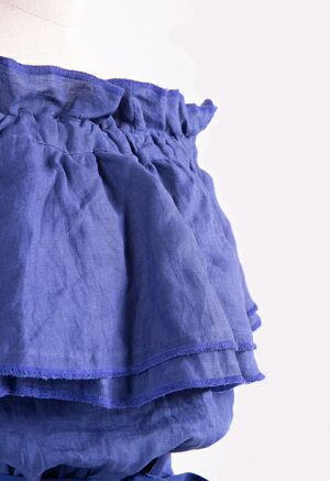 DOZEオフショルダーリネンワンピース(ロイヤルブルー)海が似合いそうな真っ青なリネンを使ったワンピースAライン春夏モデル麻・リネン通気性が良い日本製