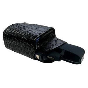 iQOS(アイコス)専用ケース ブラック 高級本牛革のクロコ型押し 収納ポケット付/アイコスケース/本革ケース/電子タバコ/レザー電子たばこケース