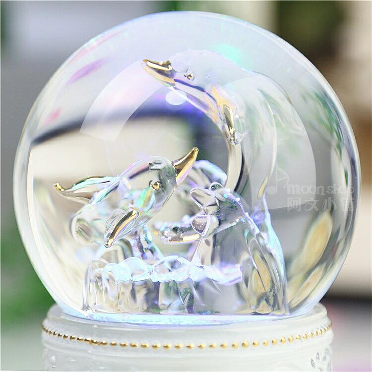 【送料無料】【クリスタルボール】【オルゴール】 ジブリ イルカ かわいい 回転 ライト  HM-1239 バリエーション3曲(天空の城ラピュタ 千と千尋の神隠し ハッピーバースデイ)