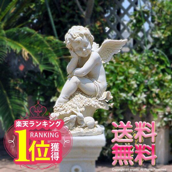【送料無料】楽天ランキング1位獲得【アンジェロ】ガーデニング 天使置物うたたねエンジェルバラ雑貨エントランスにも【あす楽】ラビット妖精・薔薇 姫