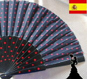 ロングアバニコ(扇子)約31cmドット黒色/アンダルシア地方/フラメンコ/ダンス/スペイン/水玉/かわいい/キレイ/綺麗/美しい/赤色/レッド/ブラック