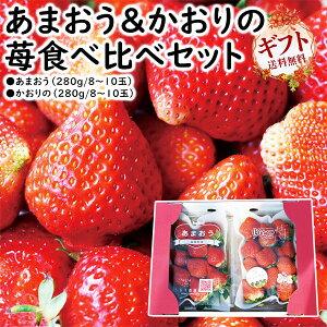 あまおう・かおりの2パック いちご食べ比べセット 福岡県産・ギフト・九州応援  送料無料