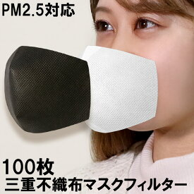あす楽・100枚セット マスク フィルター マスク用 PM2.5 マスクフィルター 使い捨て 夏用 不織布 在庫あり シート カバー ウイルス ウイルス飛沫 カット 不織布シート 3層 ウイルス対応 取り換えシート ウイルス対策 韓国 レギュラーサイズ ふつうサイズ 交換フィルター