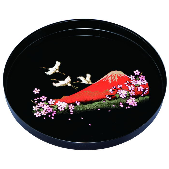 【紀州漆器】丸盆 8.0黒 一富士二鶴三桜ABS樹脂(23-21-8)