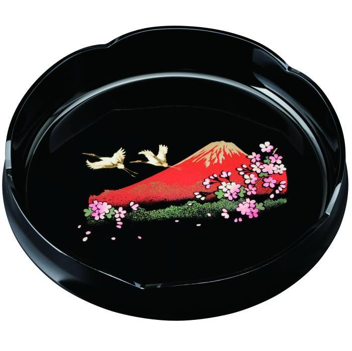 【紀州漆器】8.0 梅鉢黒 一富士二鶴三桜フェノール樹脂(23-53-3)