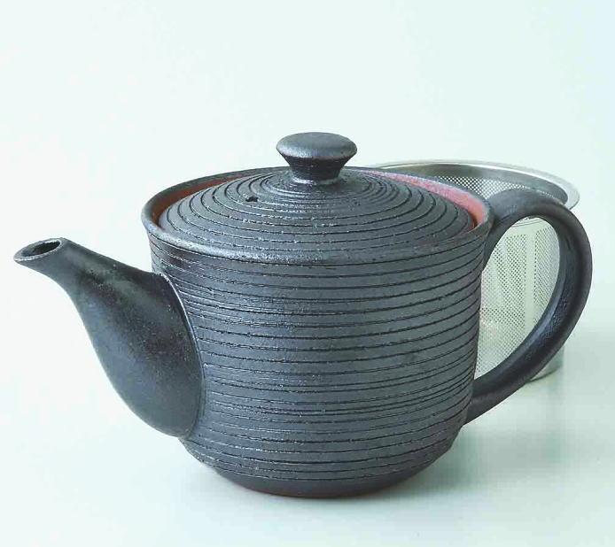 【波佐見焼】茶注楽々黒千段 SSポット(73461)スーパー・ステンレス茶こし【SAIKAIシリーズ割引対象】