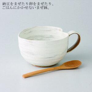波佐見焼 VARIOUS BOWL粉引 納豆鉢(さじ付) (375ml)1個入 (ダンボール箱入)(42653)【送料込み価格】