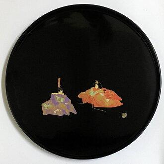 Wooden lacquerware round tray hina doll