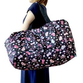 キティちゃん ボストンバッグ 黒 ミニバッグ付きキャリーオンバッグ 旅行鞄 travering bag軽量 トラベルバッグ キティ バッグ サンリオ 送料無料